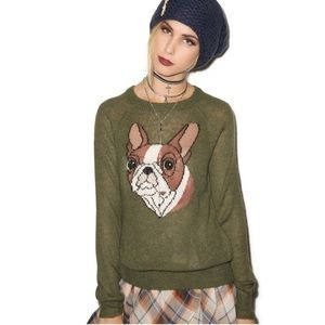 🍀🍀 SALE Wildfox White Label Frenchie Dog Sweater